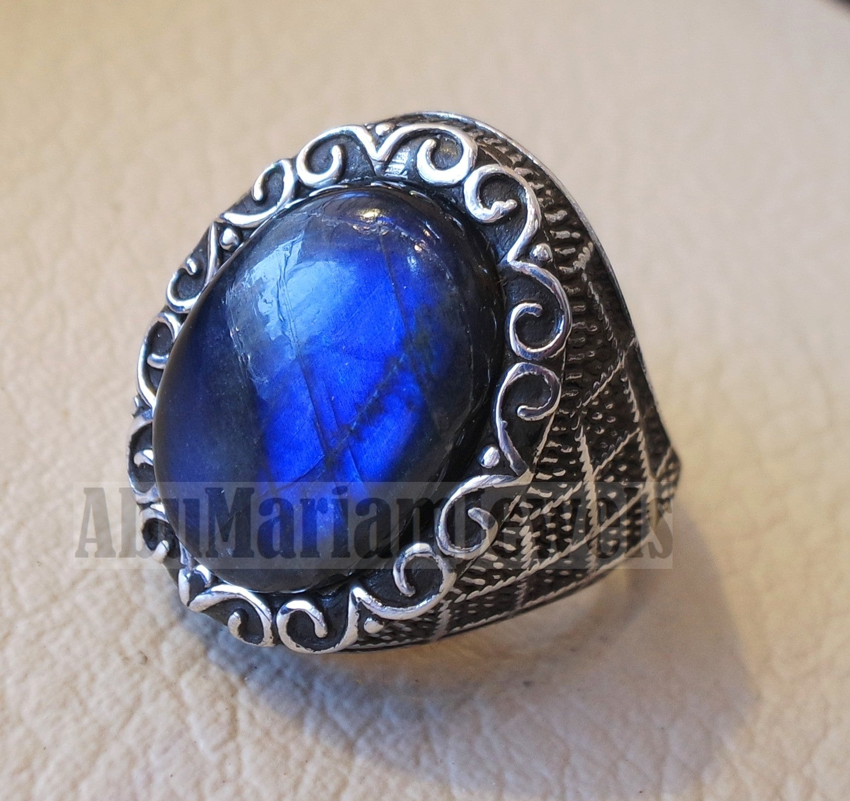 flashy blue labradorite Top quality men ring sterling silver 925 natural stone all sizes jewelry fast shipping ottoman middle eastern style