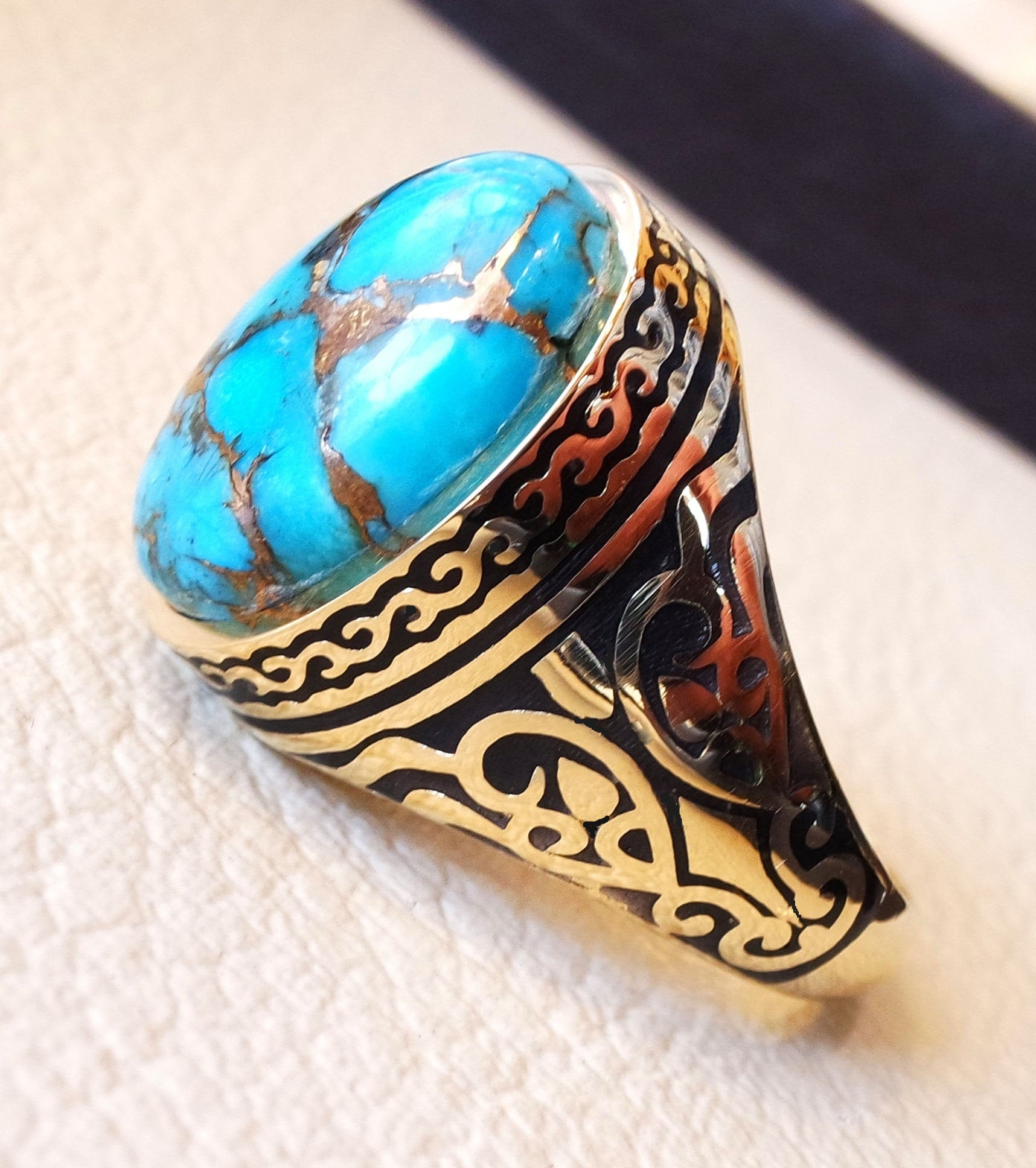 18k yellow gold men ring blue turquoise cabochon high quality natural stone all sizes Ottoman signet style fine jewelry fast shipping