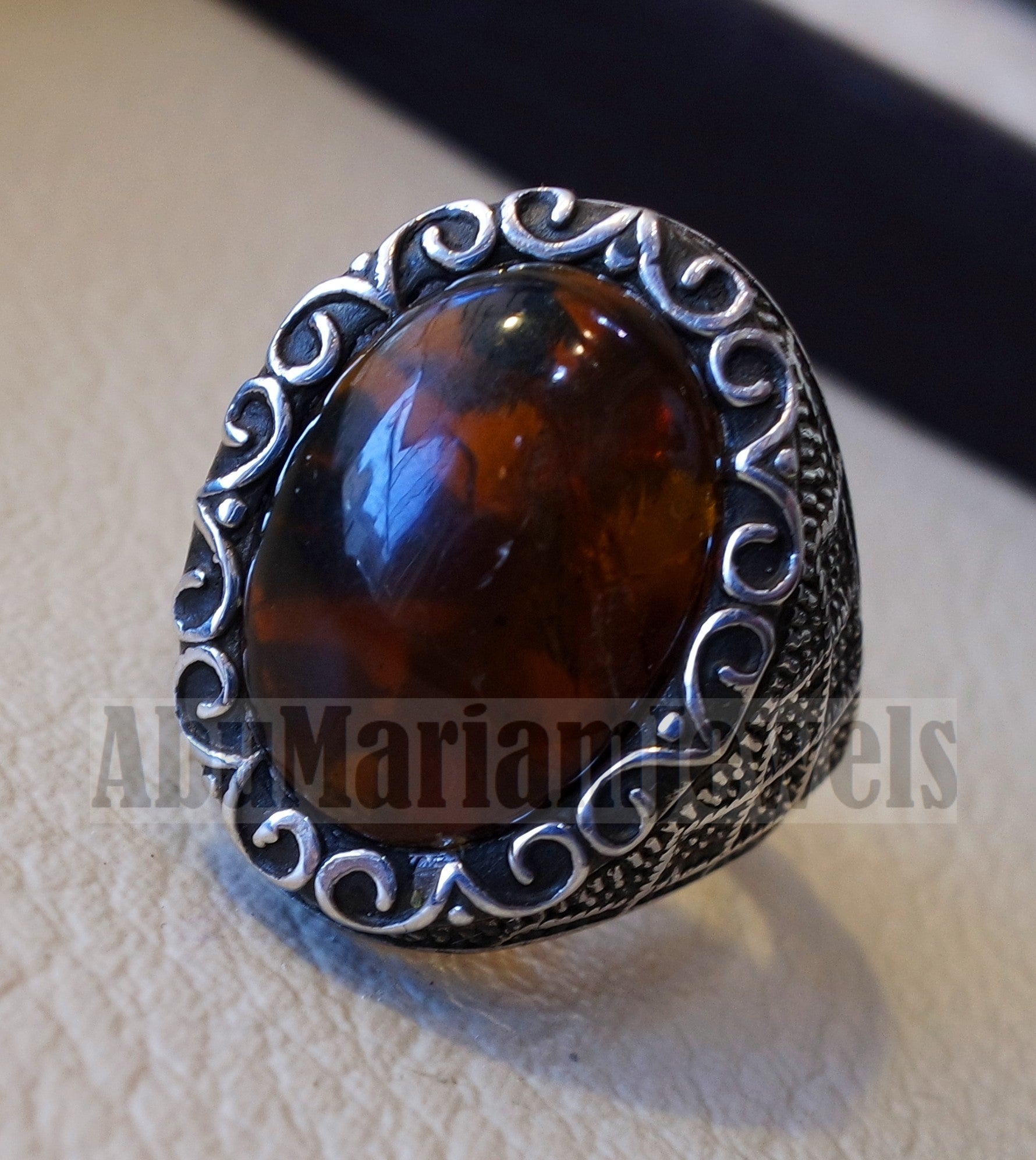 Baltic amber oval stone man heavy ring sterling silver 925 antique ottoman style jewelry all sizes fast shipping natural genuine stone كهرب