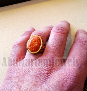 18k yellow gold men ring sponge coral cabochon high quality natural stone all sizes Ottoman signet style fine jewelry fast shipping