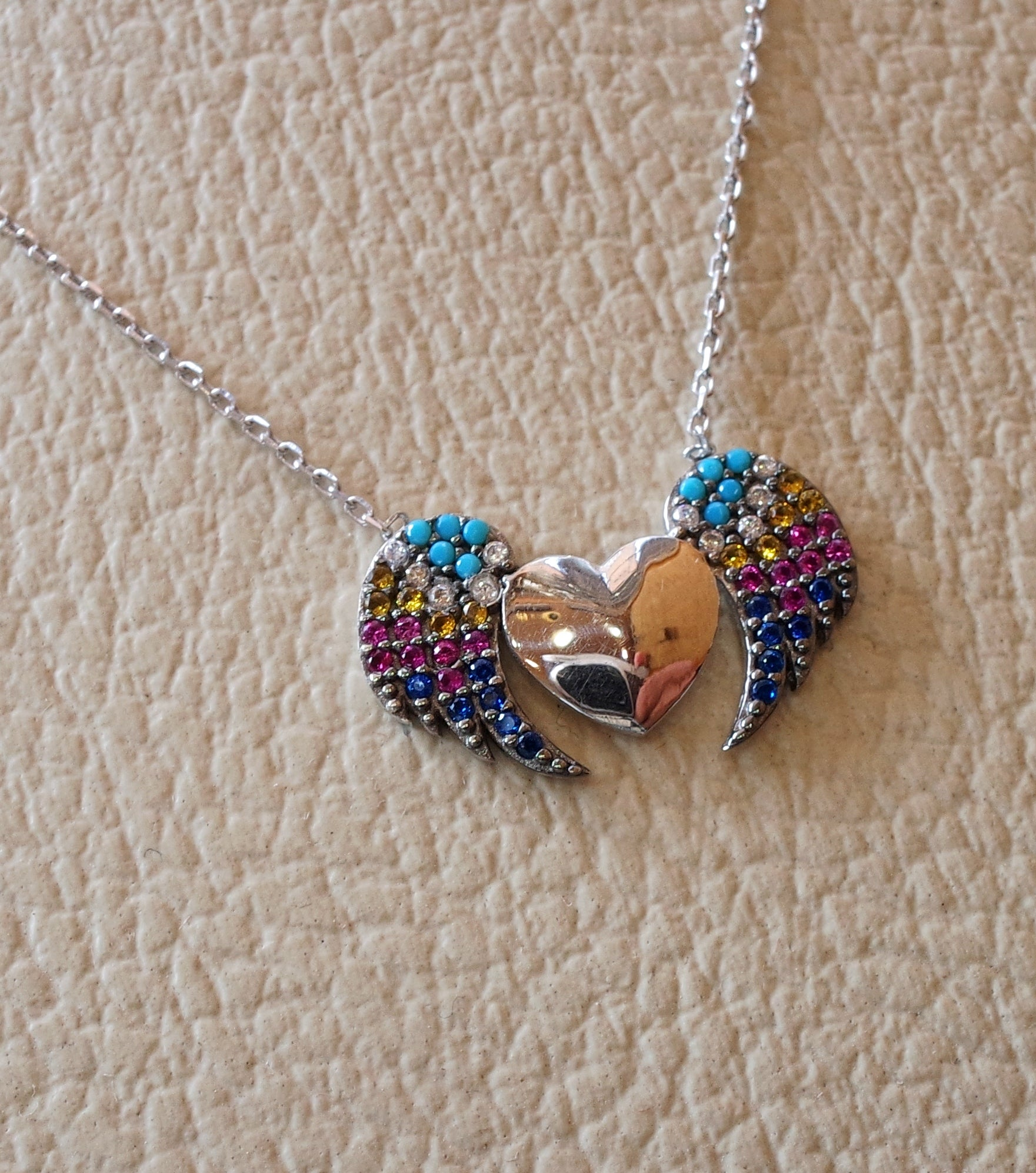 Heart and wings sterling silver 925 colorful necklace rainbow colors