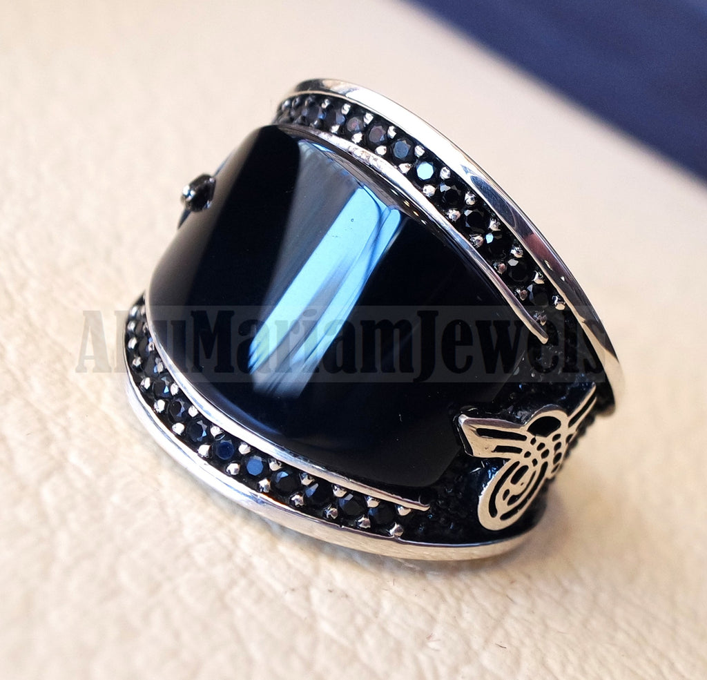 Agate black onyx aqeeq natural flat cushion stone man ring all sizes arabic Ottoman turkey antique style black zircon side setting