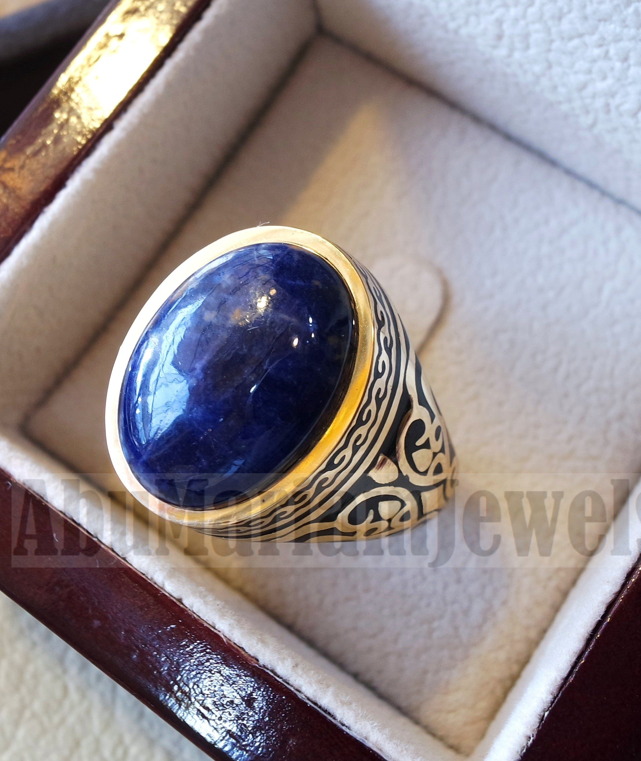 18k yellow gold men ring sodalite cabochon high quality natural stone all sizes Ottoman signet style fine jewelry fast shipping