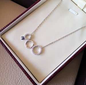 Circles and eye necklace sterling silver 925 chain and pendant high quality white cubic zirconia