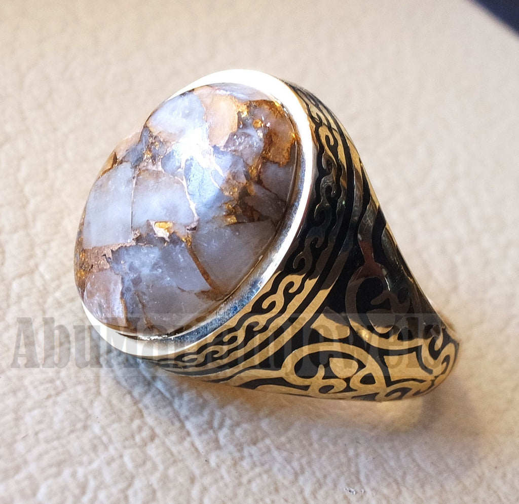 18k yellow gold men ring copper calcite cabochon high quality natural stone all sizes Ottoman signet style fine jewelry fast shipping