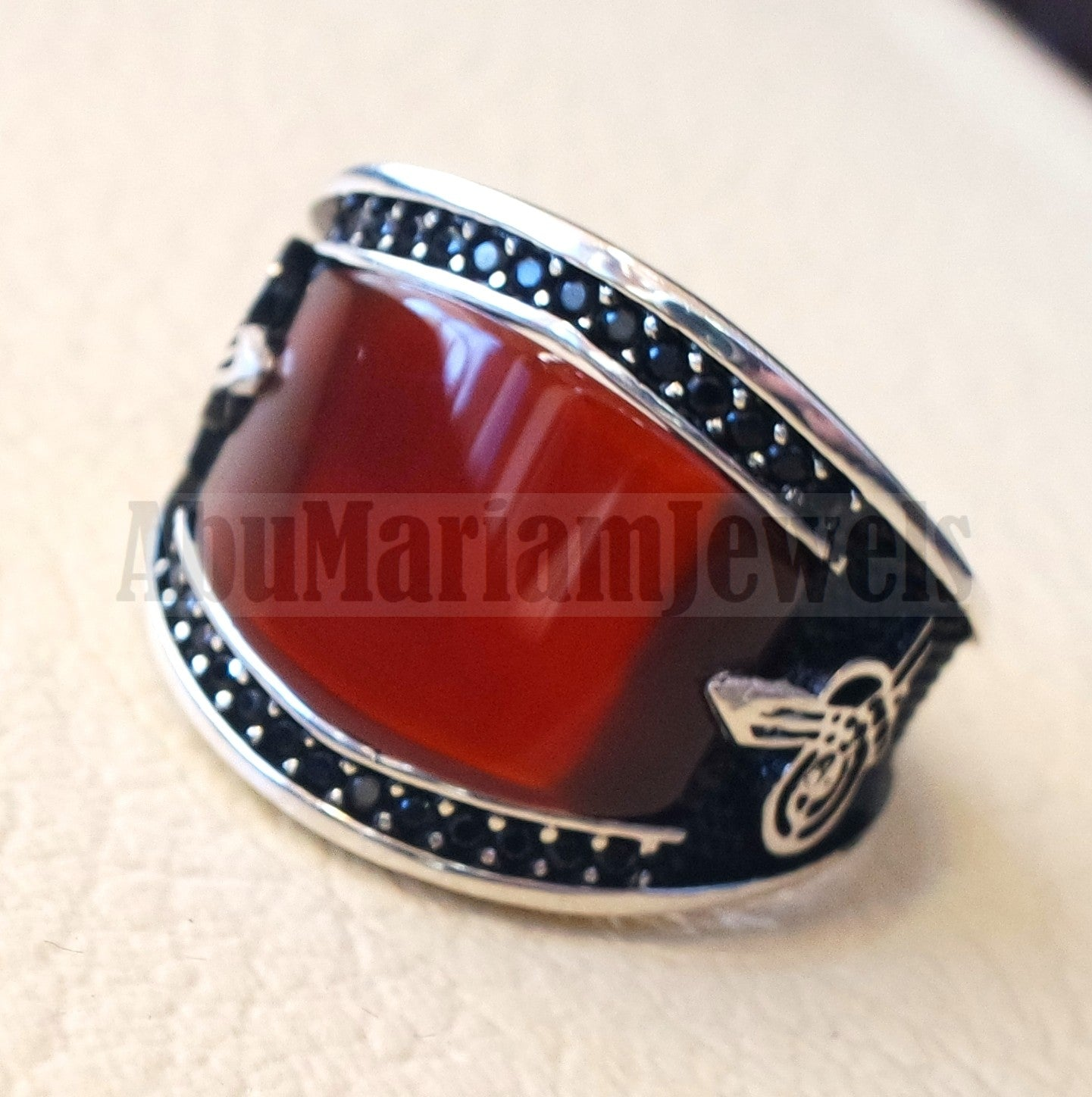 agate red aqeeq natural flat cushion stone man ring all sizes arabic Ottoman turkey antique style black zircon side setting