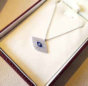 Eye necklace sterling silver 925 and cubic zirconia high quality gift box jewelry