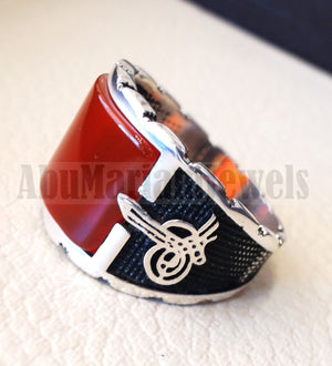 square aqeeq ring red semi precious carnelian natural flat stone sterling silver 925 all sizes arabic ottoman style men jewelry handmade
