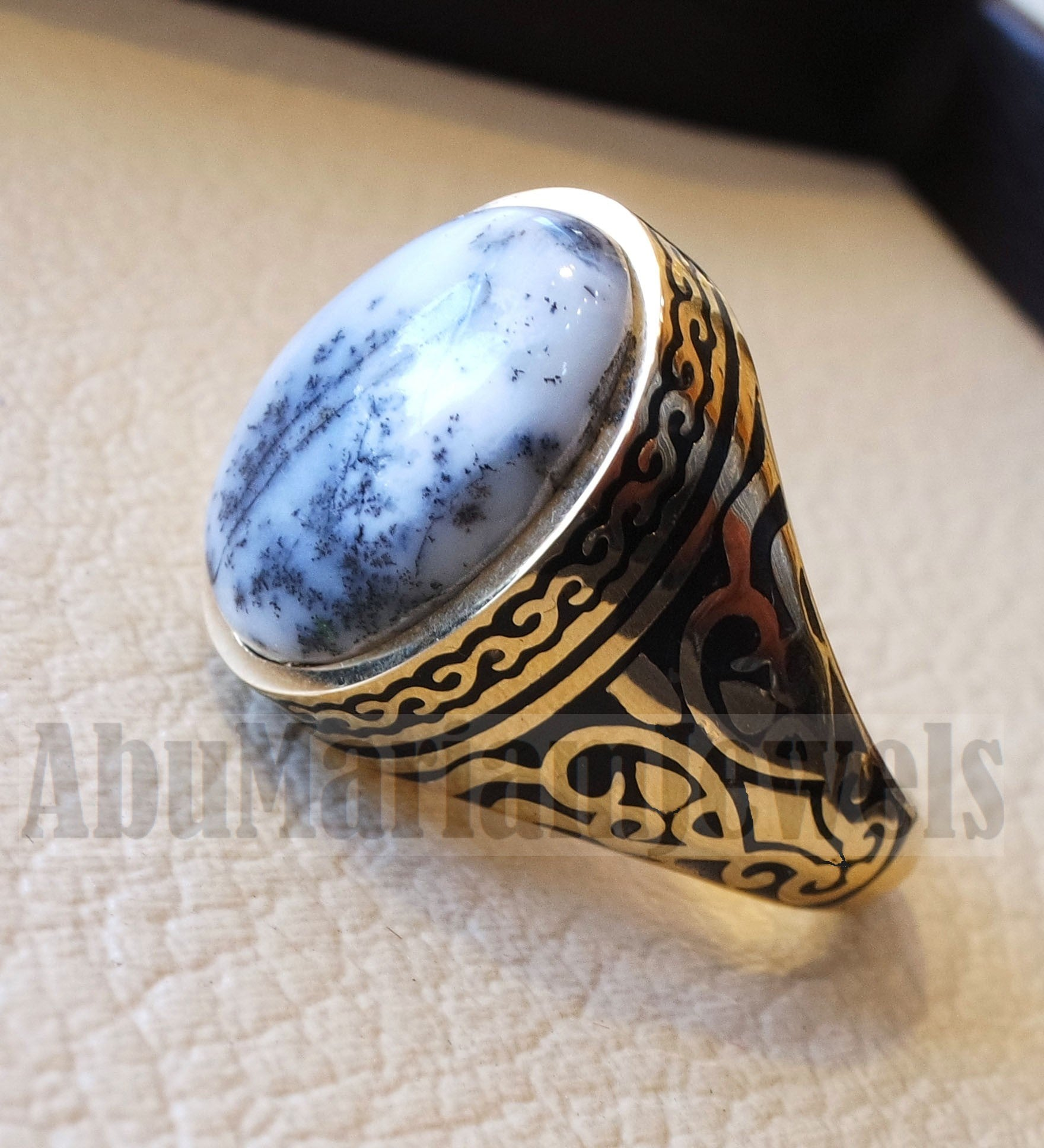 18k yellow gold men ring dendritic opal cabochon high quality natural stone all sizes Ottoman signet style fine jewelry fast shipping
