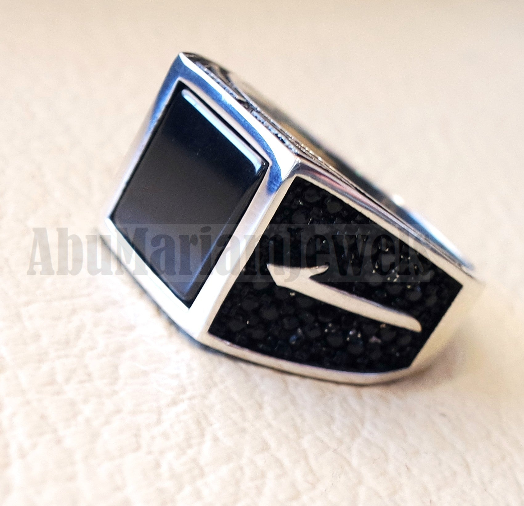 Square Alif Arabic Abjad stunning black onyx man ring sterling silver and black cubic zircon micro setting on sides natural flat gem الف عربي