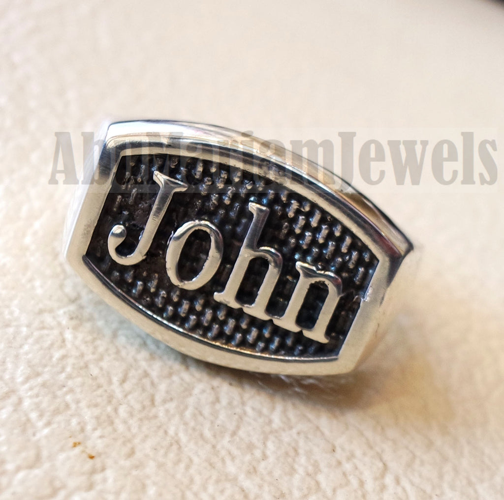 Name ring customized English calligraphy one word personalized heavy all sizes jewelry style sterling silver 925 SN1002