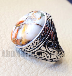 copper oyster man ring natural stone sterling silver 925 oval cabochon semi precious gem ottoman arabic style all sizes jewelry