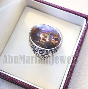 copper amethyst man ring natural purple stone sterling silver 925 oval cabochon semi precious gem ottoman arabic style all sizes jewelry