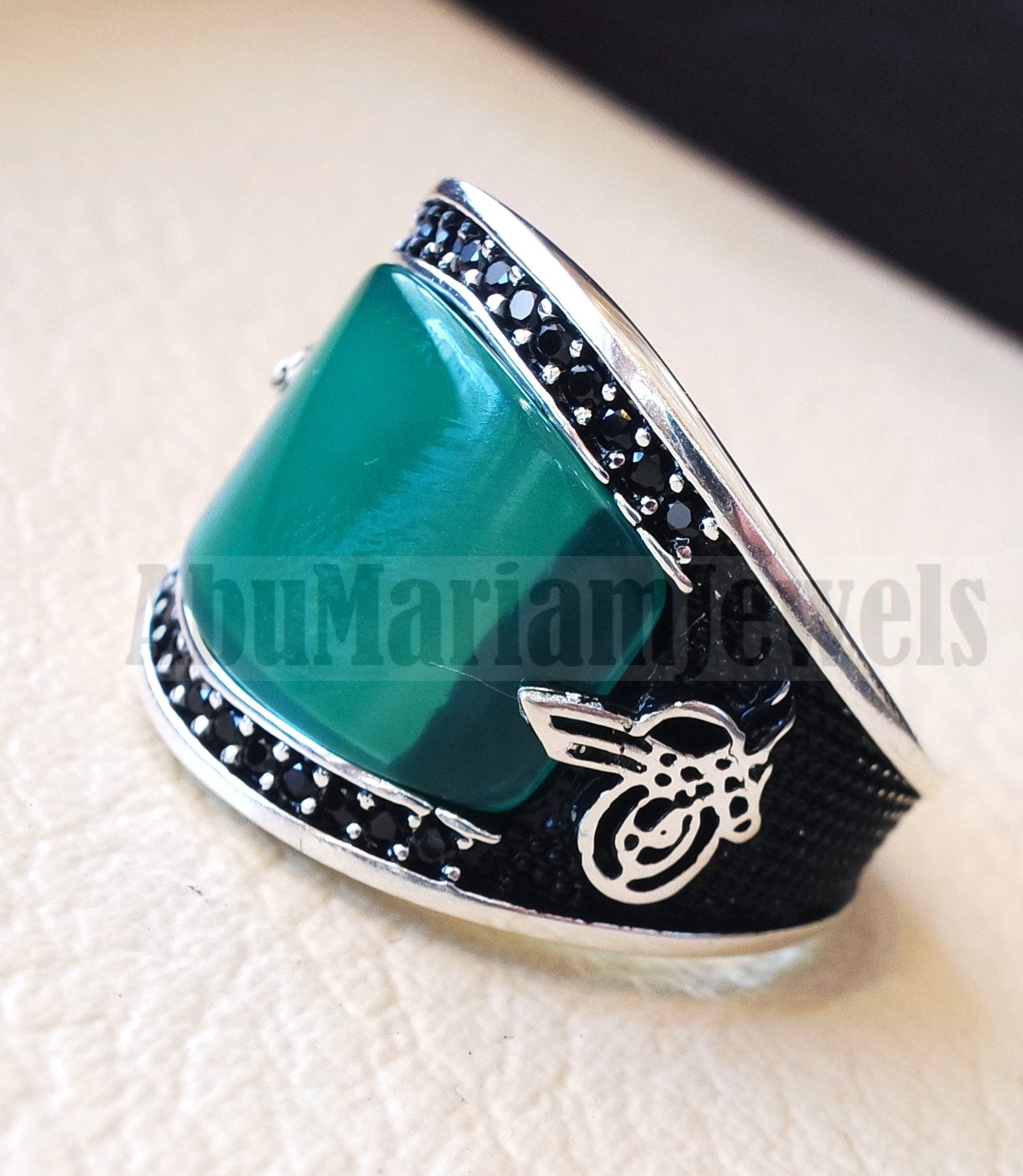 Agate green aqeeq natural flat cushion stone man ring all sizes arabic Ottoman turkey antique style black zircon side setting