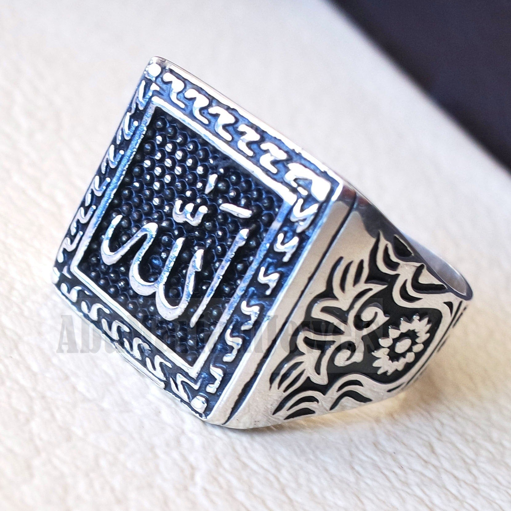 Allah arabic islamic sterling silver 925 man ring all sizes square face arab middle eastern turkey islam الله اسلام لفظ الجلاله