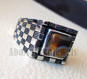 Square Cushion yamani aqeeq natural semi precious multi color agate gemstone men ring sterling silver 925 jewelry all sizes عقيق يماني