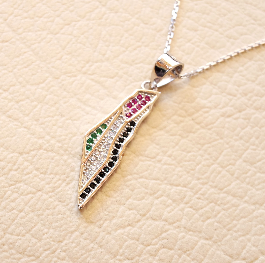 Palestine map & flag small pendant sterling silver 925 cubic Zirconia colorful stones jewelry arabic fast shipping خارطه و علم فلسطين