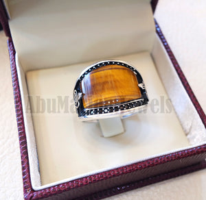 Tiger eye natural flat cushion stone man ring all sizes arabic Ottoman turkey antique style black zircon side setting