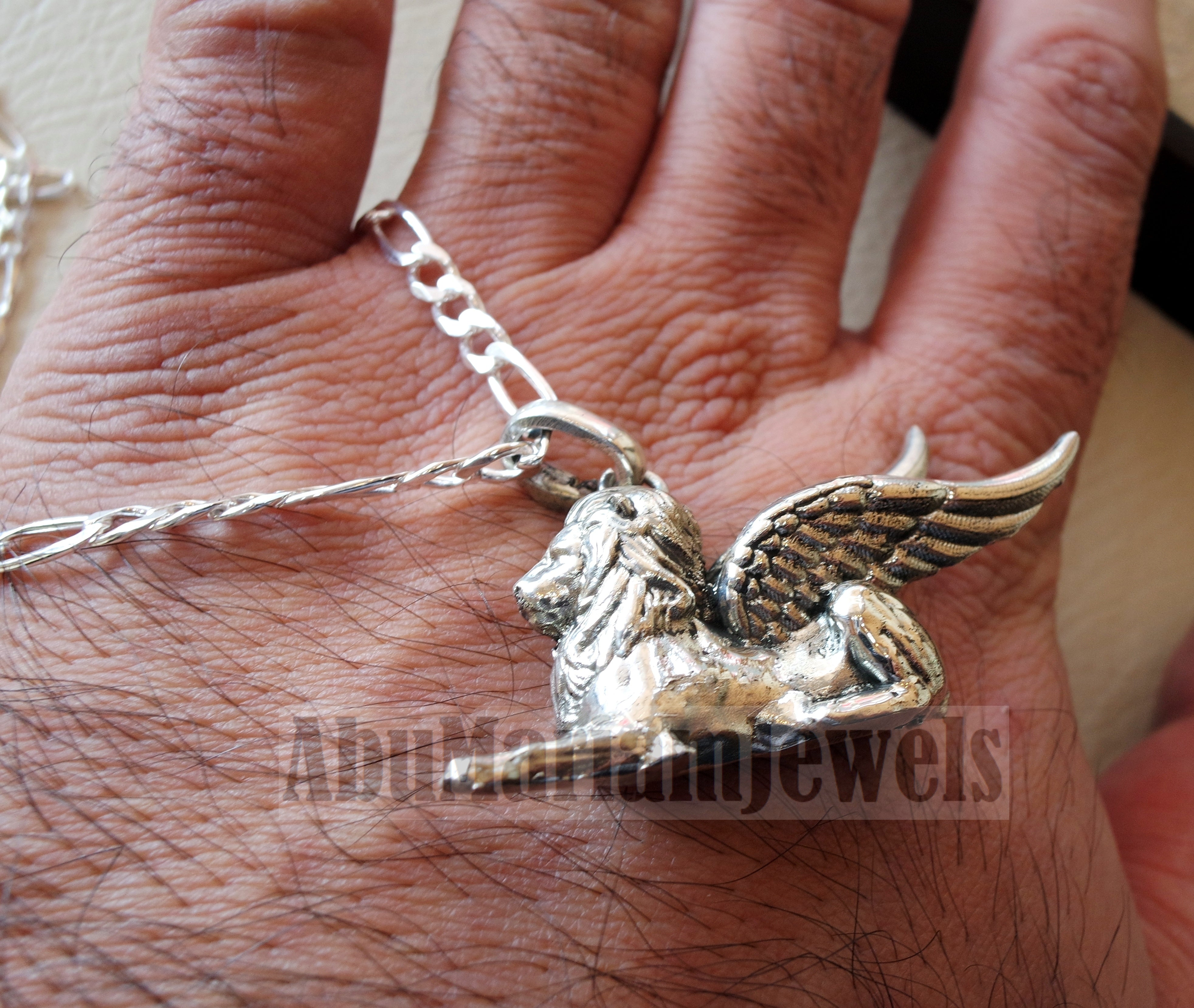 Babylon lion historical mythical winged lion the symbol of ultimate power pendant with thick chain sterling silver 925 griffin gryphon jewelry