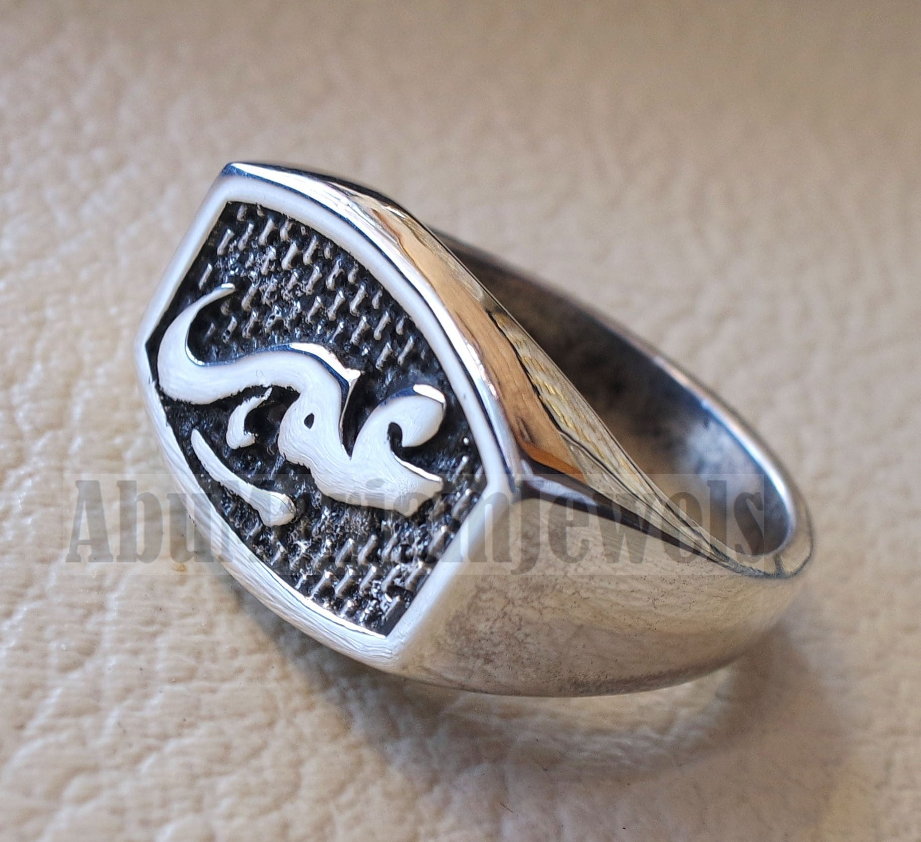 Name ring customized Arabic calligraphy one word personalized heavy all sizes jewelry style sterling silver 925 SN1001 خاتم اسم تفصيل