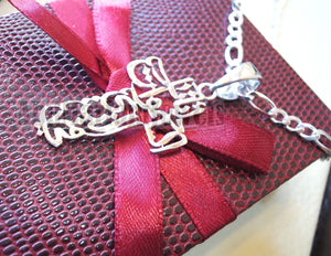 Arabic calligraphy cross with thick chain our father who art in heaven pendant sterling silver 925 catholic orthodox christianity handmade fast shipping