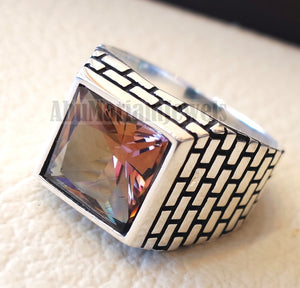 Zultanite natural changing color rare stone sterling silver 925 Diaspore men ring princess cut stone all sizes 2