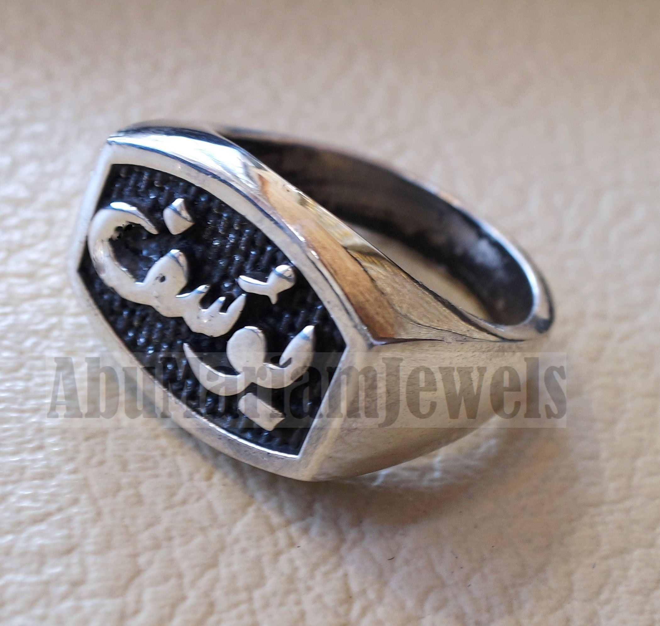 Name ring customized Arabic calligraphy one word personalized heavy all sizes jewelry style sterling silver 925 SN1003 خاتم اسم تفصيل