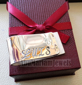 personalized customized heavy sterling silver 925 money clip gift three letters or one name Arabic or English or any other can be applied