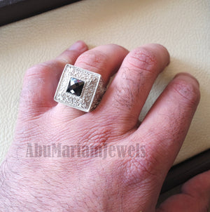 square black onyx stone sterling silver 925 huge Ottoman Arabic man ring jewelry any size middle eastern antique style fast shipping