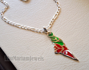 Palestine necklace map pendant with thick chain sterling silver 925 colorful enamel jewelry arabic calligraphy fast shipping خارطه فلسطين