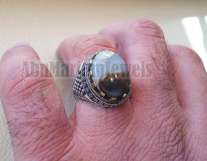 oval yamani aqeeq natural semi precious multi color agate gem men ring sterling silver 925 and bronze jewelry all sizes عقيق يماني 1002