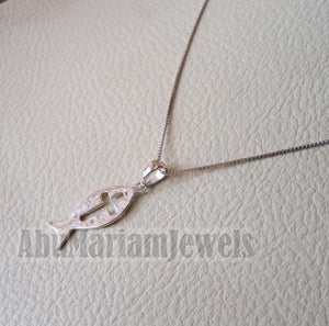 Icthys cross pendant with chain sterling silver 925 middle eastern jewelry christianity fish and cross necklace handmade express shipping