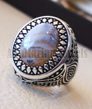 oval yamani aqeeq natural semi precious multi color agate gem men ring sterling silver 925  jewelry all sizes عقيق يماني 1102