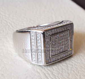 Micro pave cubic zirconia white stones diamond style sterling silver 925 heavy men ring all sizes .
