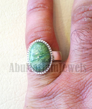 Pinkie men or women ring green Swiss opal skin touching stone sterling silver 925 all sizes high quality natural oval cabochon stone