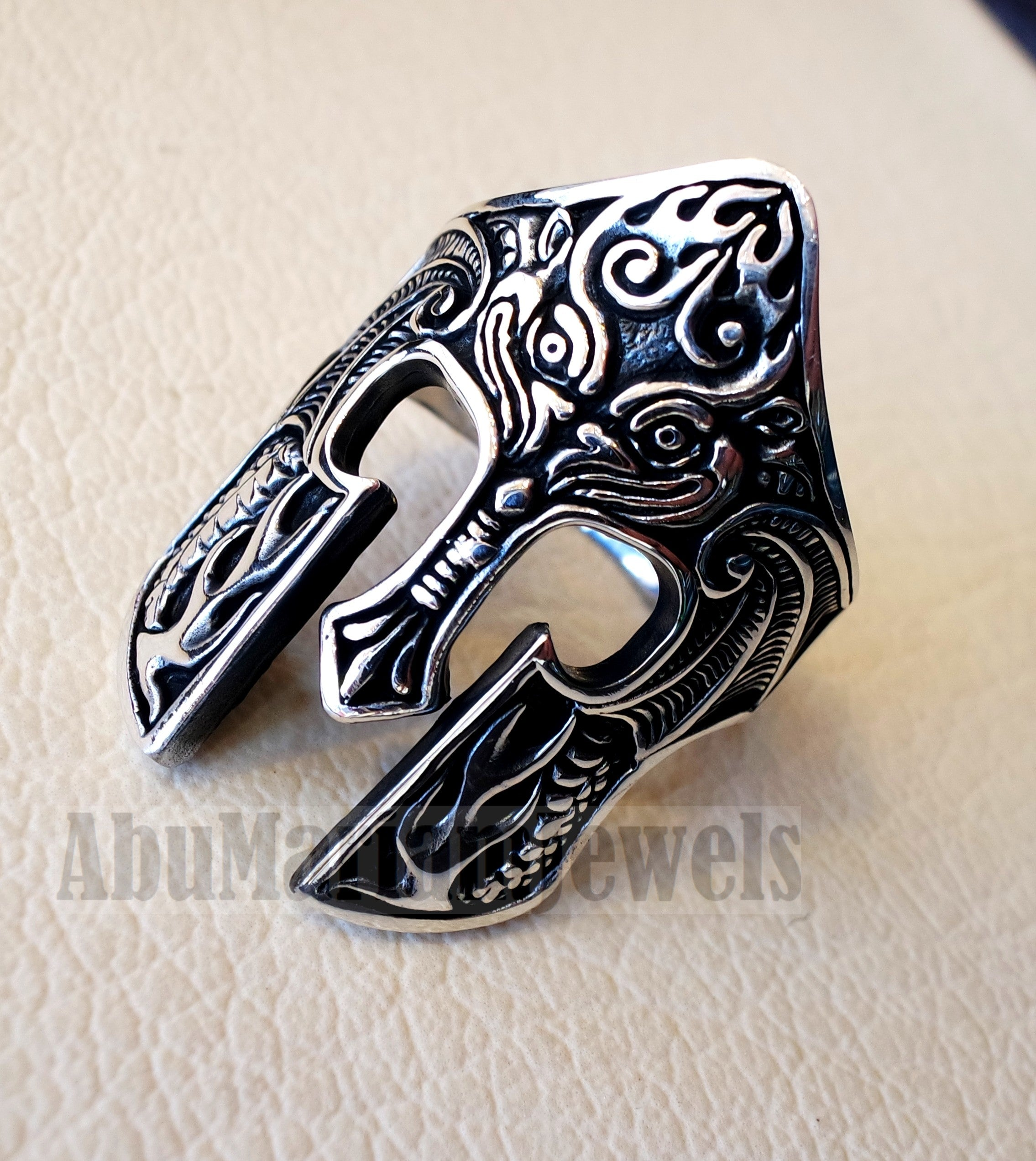 Warrior ring face mask ring sterling silver 925 huge man jewelry piece all sizes fast express shipping
