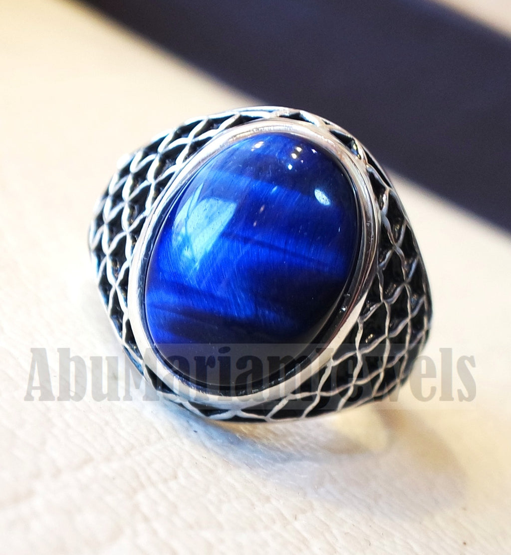 Stunning tiger eye blue stone men ring sterling silver 925 and jewelry handmade arabic turkey ottoman style all sizes