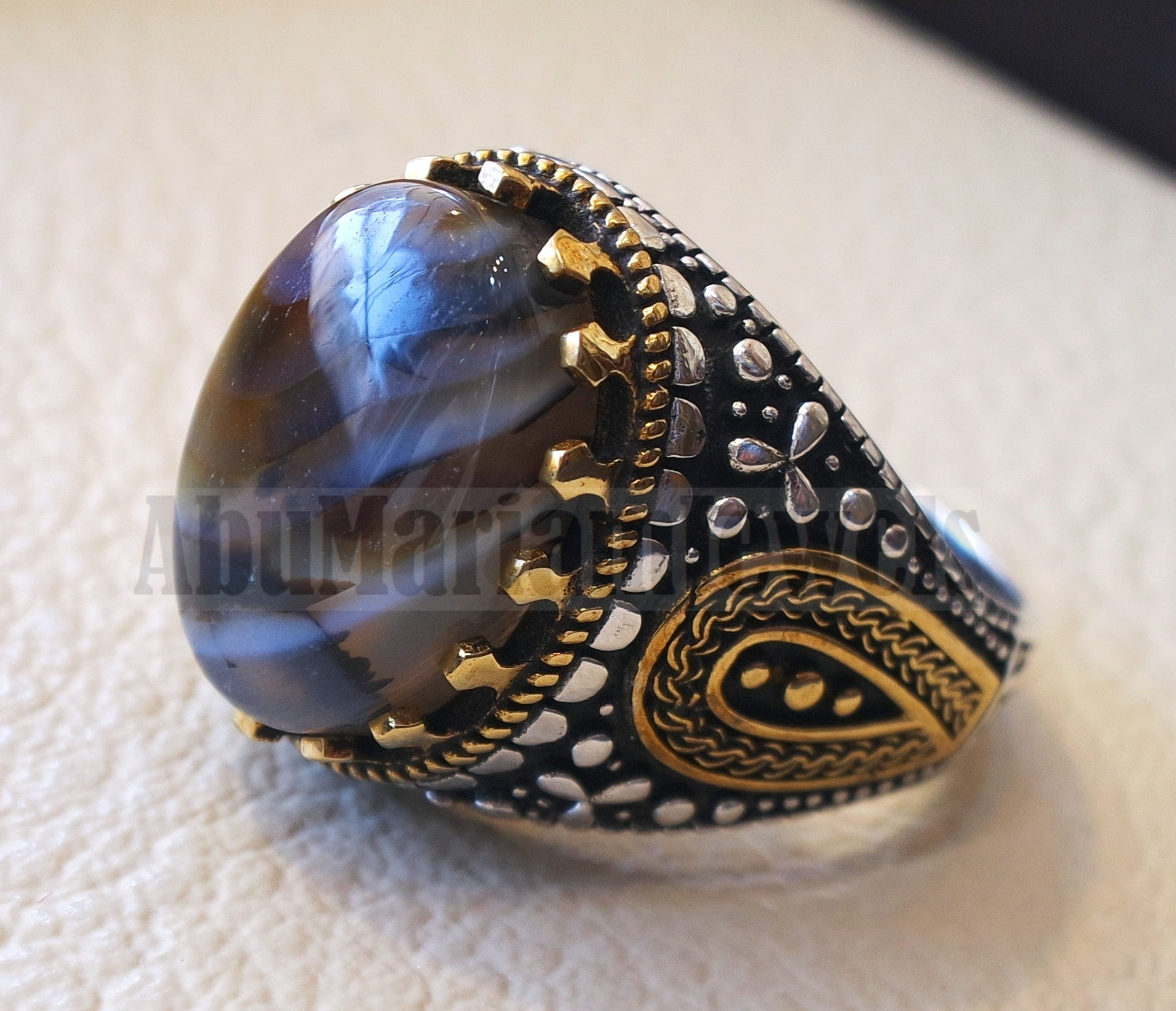 oval yamani aqeeq natural semi precious multi color agate gem men ring sterling silver 925 and bronze jewelry all sizes  1004 عقيق يماني