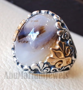 oval yamani aqeeq natural semi precious multi color agate gemstone men ring sterling silver 925 and bronze jewelry all sizes عقيق يماني aq001