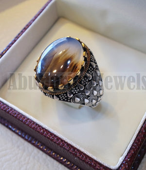 Oval yamani aqeeq natural semi precious multi color agate gem men ring sterling silver 925 and bronze jewelry all sizes  1005 عقيق يماني