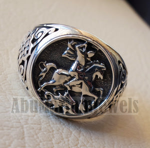 St George's and the dragon heavy man ring round sterling silver 925 historical religious Greek Orthodox Christian all sizes jewelry