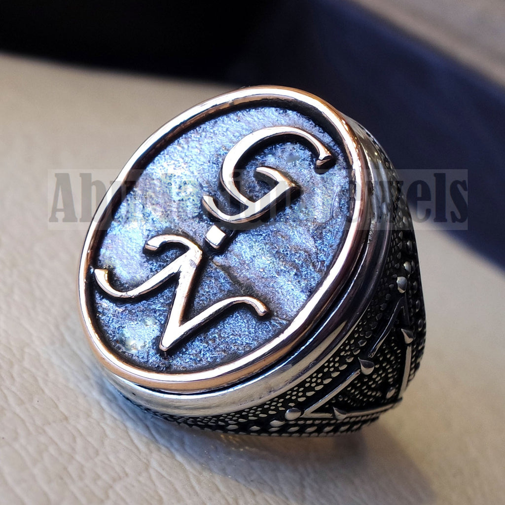 Initials Customized men ring personalized any 2 letters antique jewelry style sterling silver 925 and bronze any size In-1002