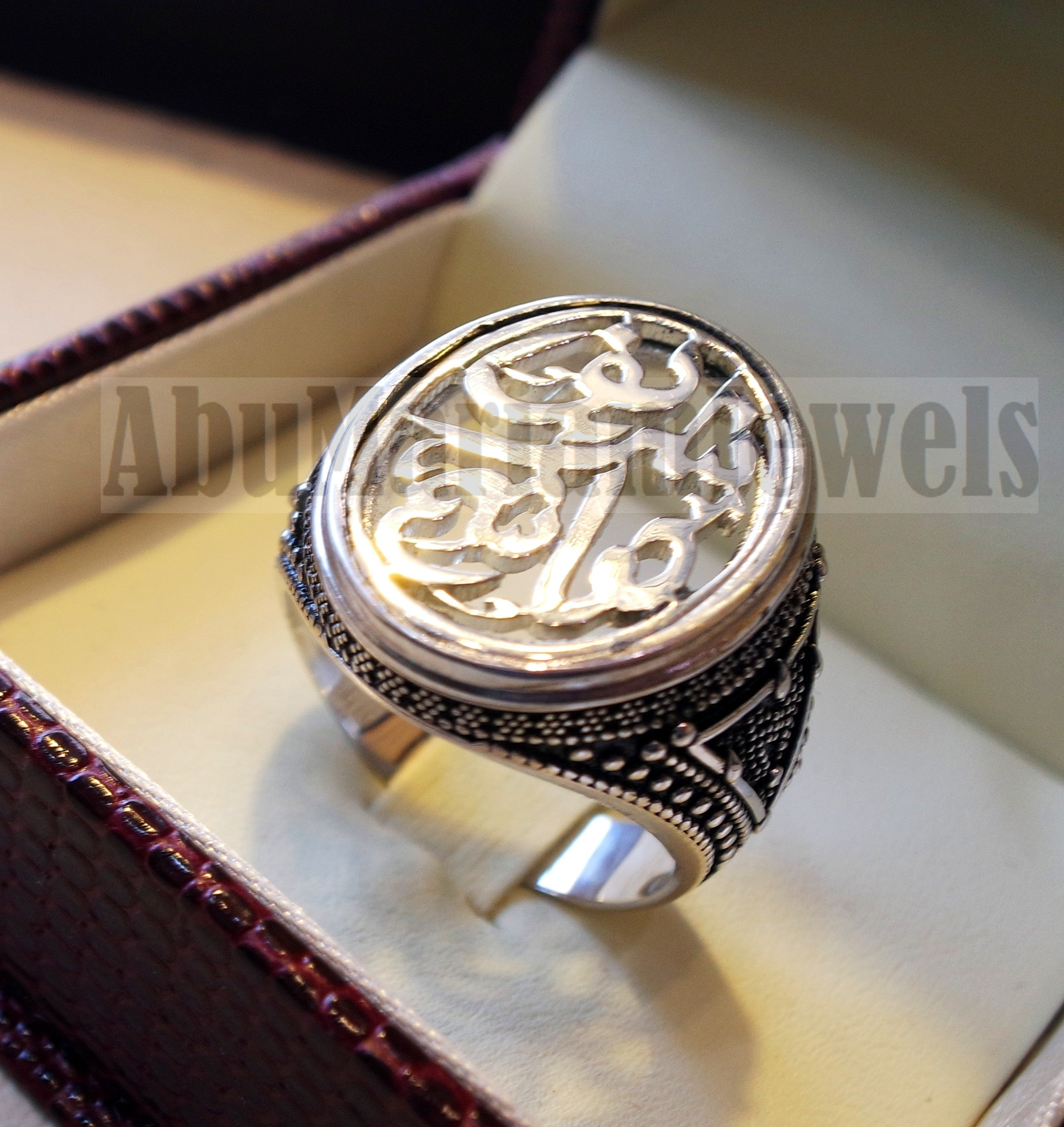 Customized Arabic calligraphy names handmade ring personalized antique jewelry style sterling silver 925 any size TSN1006 خاتم اسم تفصيل