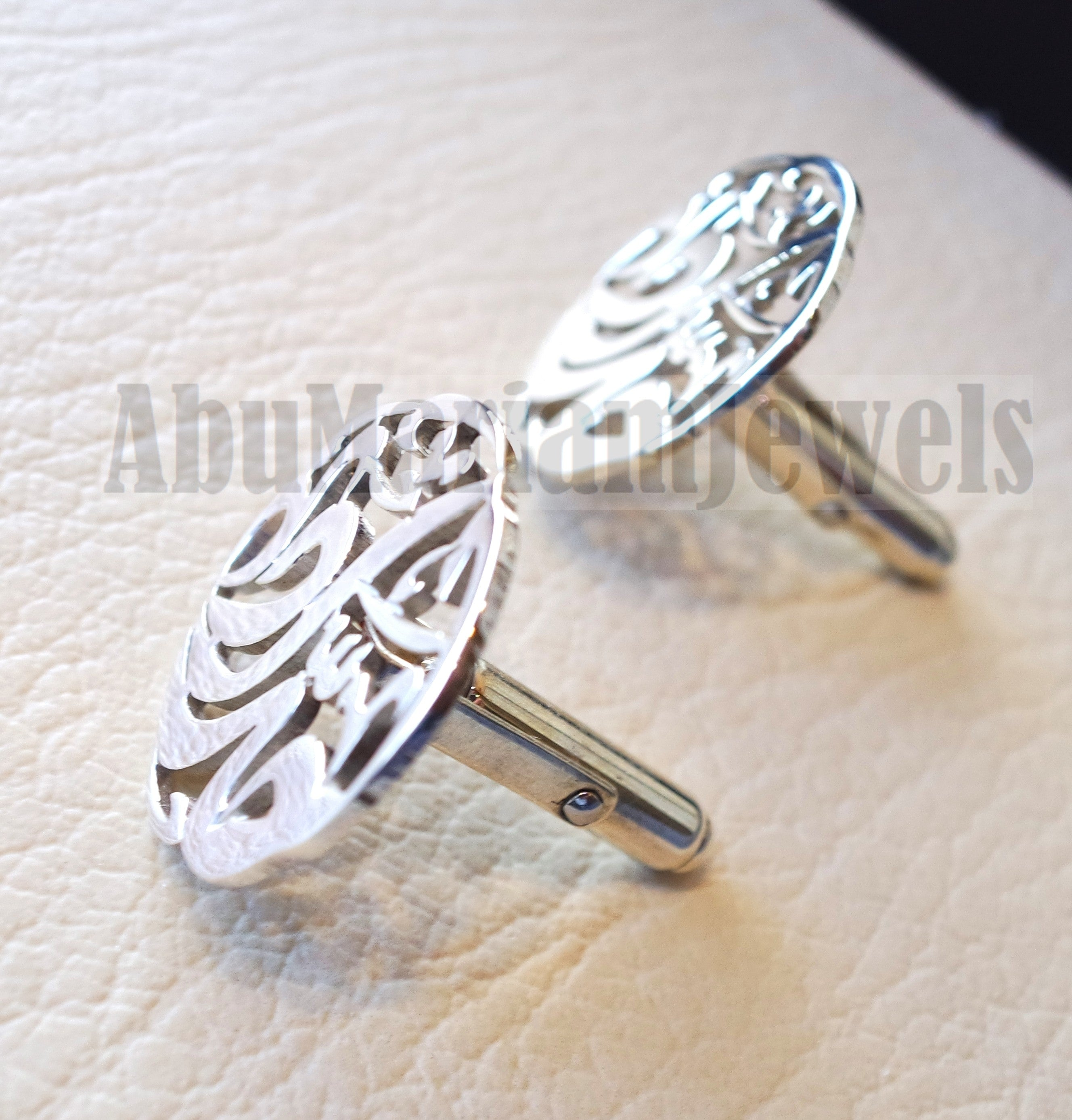 cufflinks , cuflinks 2 or 1 name one word each calligraphy arabic customized any name made to order sterling silver 925 men jewelry CF112