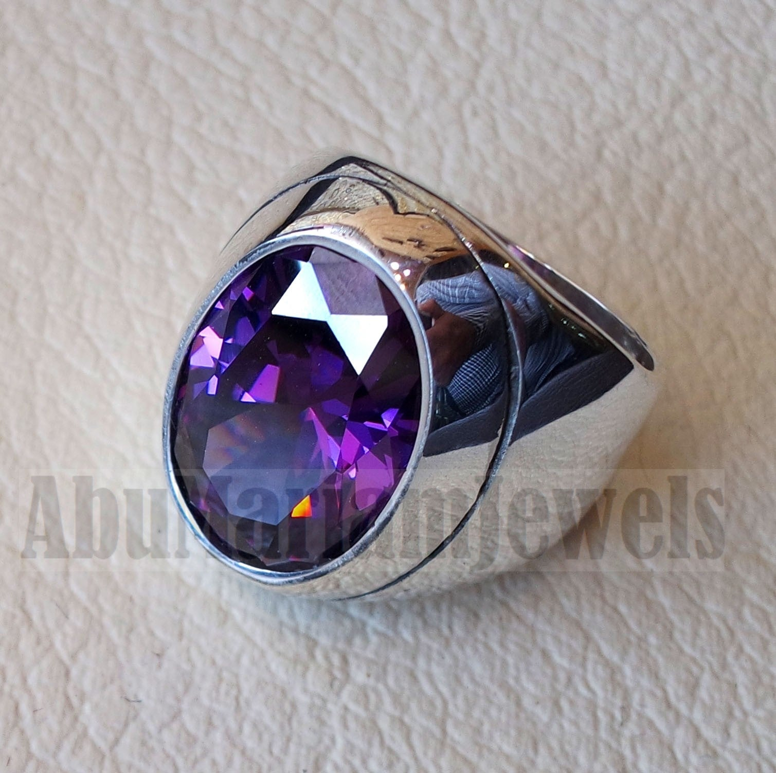 diamond synthetic stone high quality lavender purple amethyst color cubic zircon huge men ring sterling silver 925 any size heavy jewelry