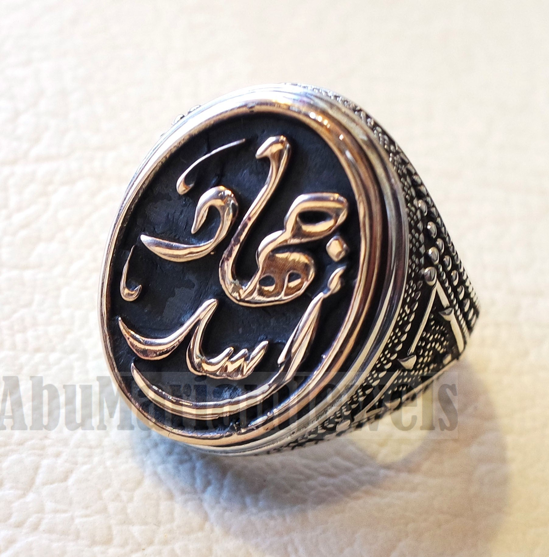 Customized Arabic calligraphy names ring personalized antique jewelry style sterling silver 925 and bronze any size TSB1010 خاتم اسم تفصيل