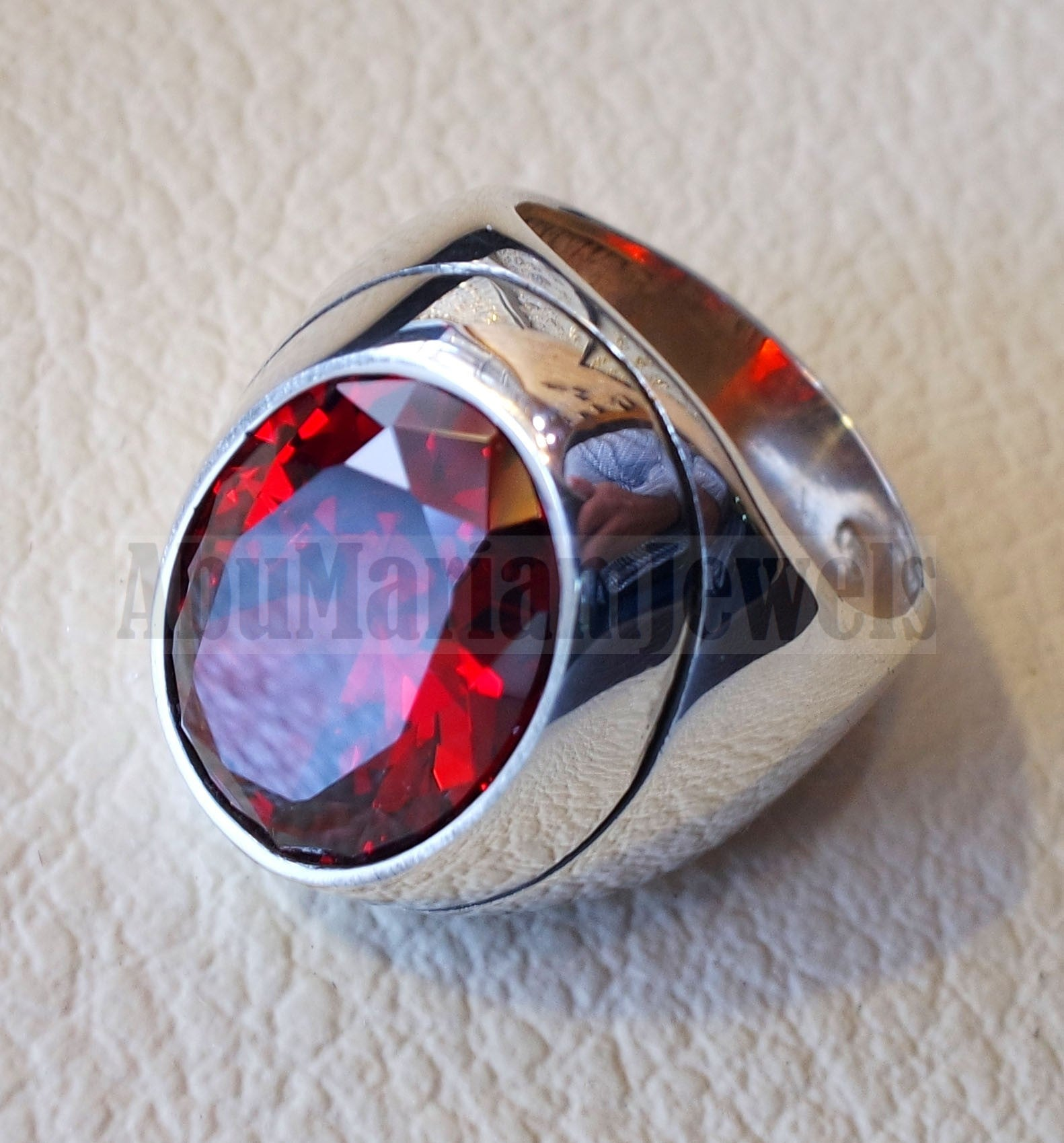 garnet identical synthetic stone high quality cubic zircon red color huge heavy men ring sterling silver 925 any size ottoman jewelry