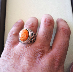 Sponge coral Murjan  heavy men ring orange to red natural stone sterling silver 925 ottoman turkish style all sizes  fast shipping مرجان