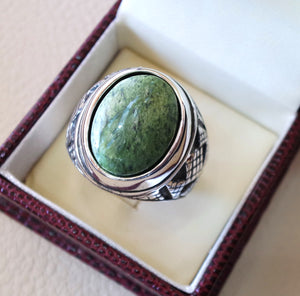 green swiss opal natural stone men ring sterling silver 925 stunning genuine gem ottoman arabic style jewelry all sizes