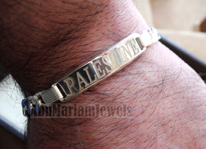 Men silver bracelet Palestine laser engraving or any personalized name sterling silver 925 man gift with nice box , chain and plate style